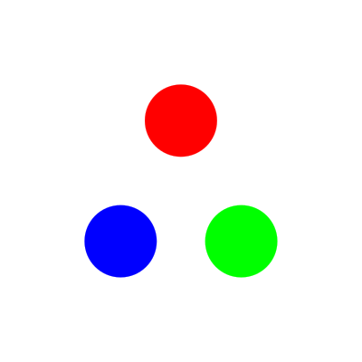 The result of the placeholder code, which creates three coloured dots