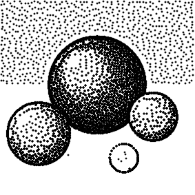 Cartoon spheres, stippled with parameters (5, 5, 0, 15)