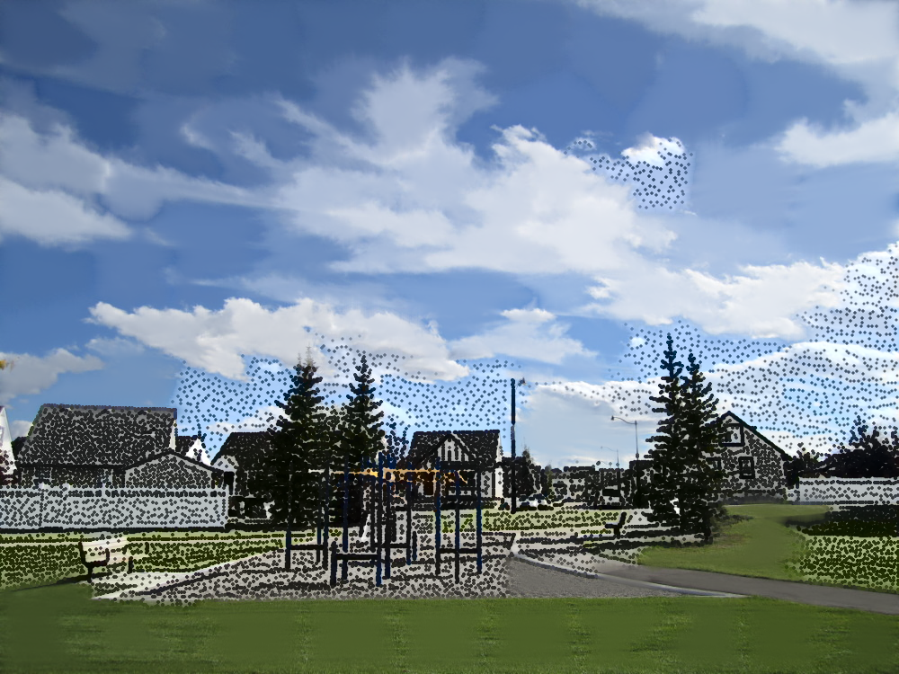 Swing set, stipples and SLIC, decay of 0.9, smooth blending