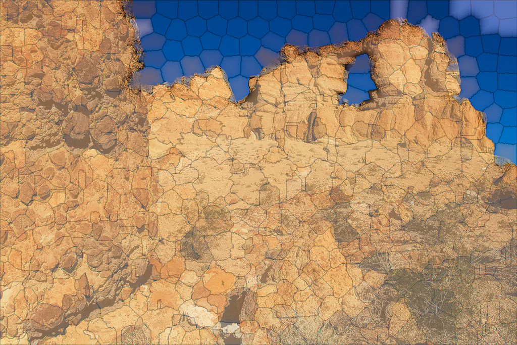 Rock arch image blended with its SLIC segmentation (500 superpixels, m = 10)